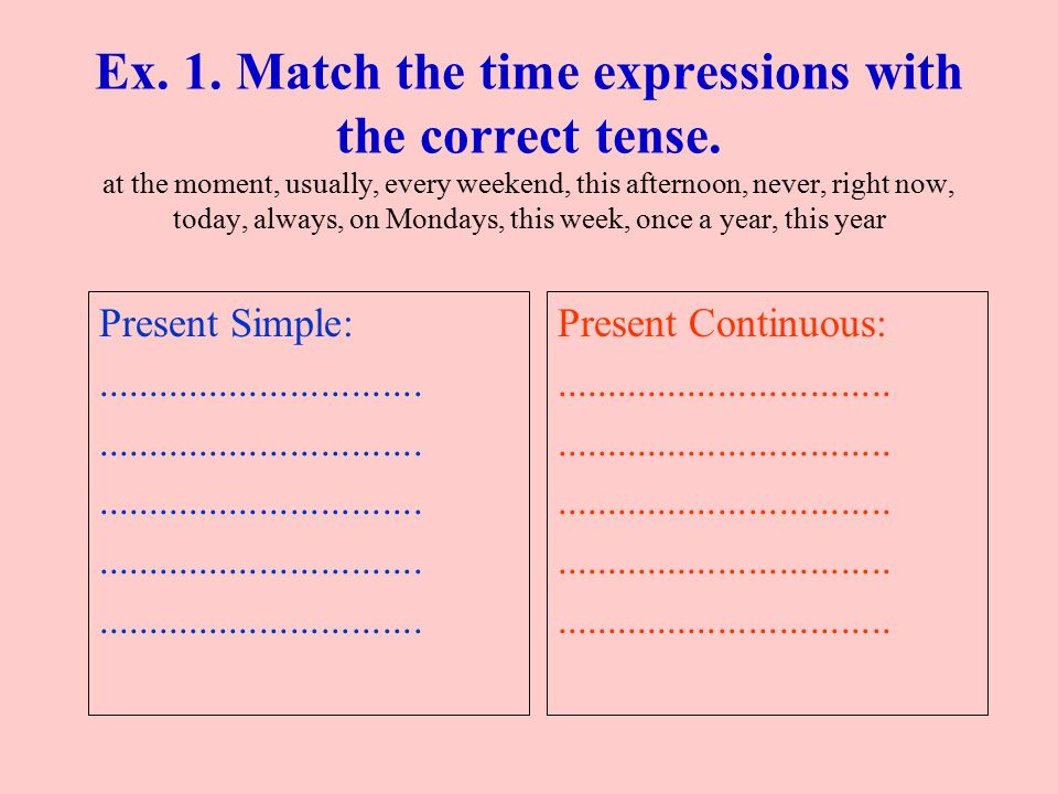 Ex. 1. Match the time expressions with the correct tense. at the moment, usually, every weekend, this afternoon, never, right now, today, always, on M