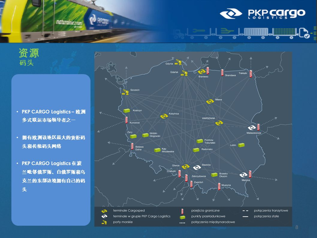 码头 资源 8 PKP CARGO Logistics – 欧洲 多式联运市场领导者之一 拥有欧洲该地区最大的货柜码 头和传统码头网络 PKP CARGO Logistics 在波 兰毗邻俄罗斯、白俄罗斯和乌 克兰的东部边境拥有自己的码 头