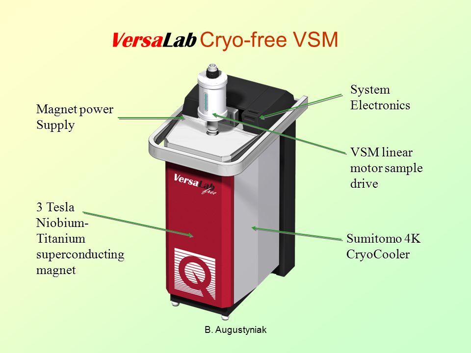 B. Augustyniak VersaLab Cryo-free VSM System Electronics VSM linear motor sample drive Magnet power Supply 3 Tesla Niobium- Titanium superconducting m