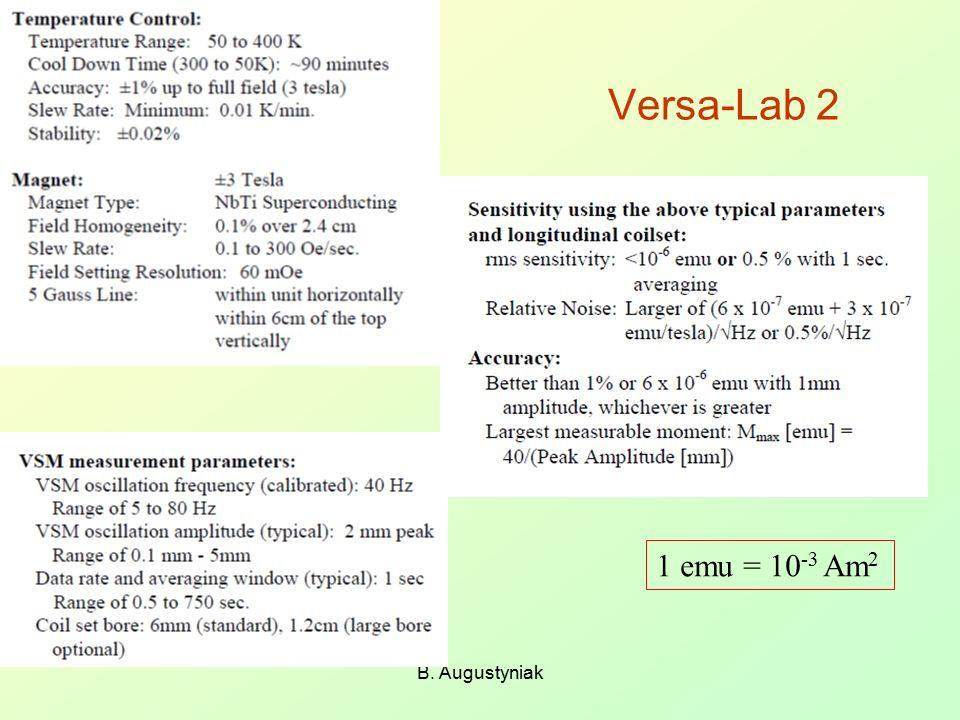 B. Augustyniak Versa-Lab 2 1 emu = 10 -3 Am 2