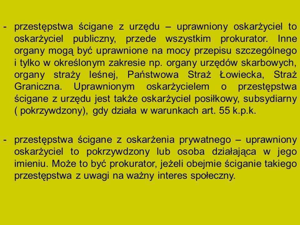 -przestępstwa ścigane z urzędu – uprawniony oskarżyciel to oskarżyciel publiczny, przede wszystkim prokurator.