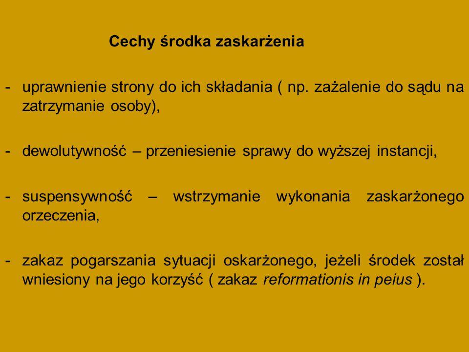 Cechy środka zaskarżenia -uprawnienie strony do ich składania ( np.