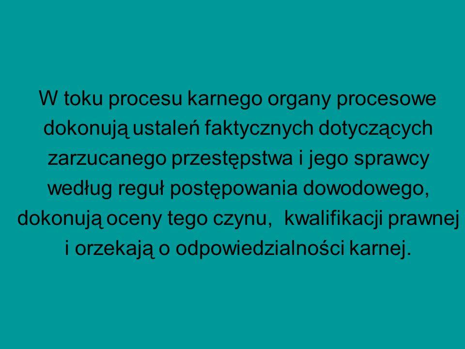 W toku procesu karnego organy procesowe dokonują ustaleń faktycznych dotyczących zarzucanego przestępstwa i jego sprawcy według reguł postępowania dowodowego, dokonują oceny tego czynu, kwalifikacji prawnej i orzekają o odpowiedzialności karnej.