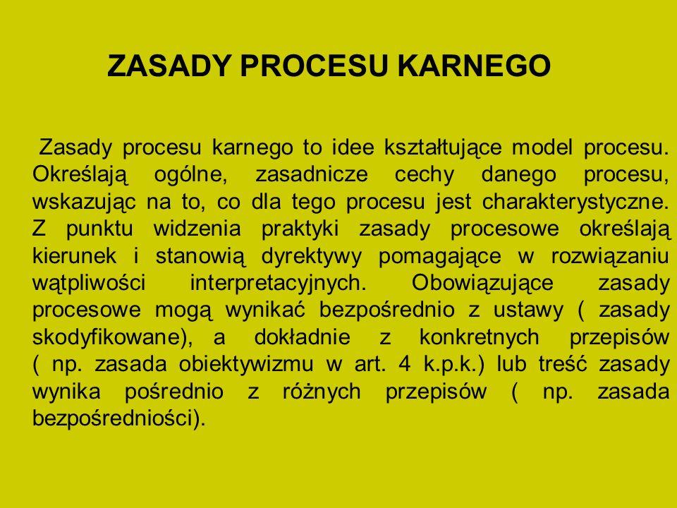 ZASADY PROCESU KARNEGO Zasady procesu karnego to idee kształtujące model procesu.