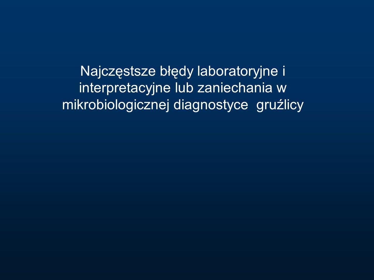 Najczęstsze błędy laboratoryjne i interpretacyjne lub zaniechania w mikrobiologicznej diagnostyce gruźlicy