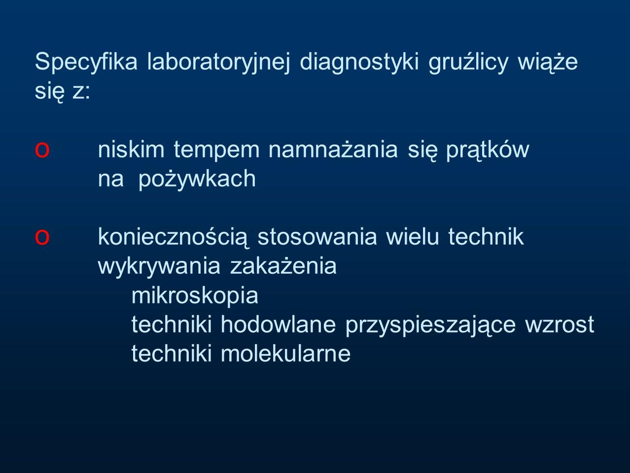 Specyfika laboratoryjnej diagnostyki gruźlicy wiąże się z: o niskim tempem namnażania się prątków na pożywkach o koniecznością stosowania wielu techni