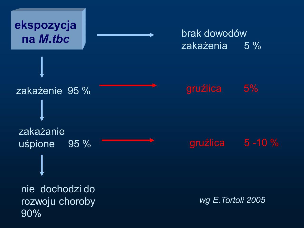 ekspozycja na M.tbc brak dowodów zakażenia 5 % zakażenie 95 % zakażanie uśpione 95 % gruźlica 5% wg E.Tortoli 2005 nie dochodzi do rozwoju choroby 90%