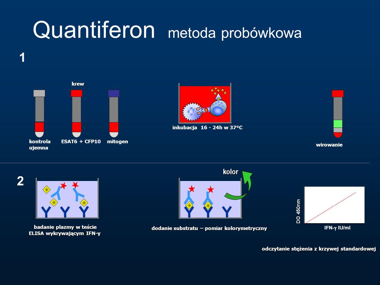 Quantiferon metoda probówkowa krew inkubacja 16 - 24h w 37°C badanie plazmy w teście ELISA wykrywającym IFN-γ badanie plazmy w teście ELISA wykrywając