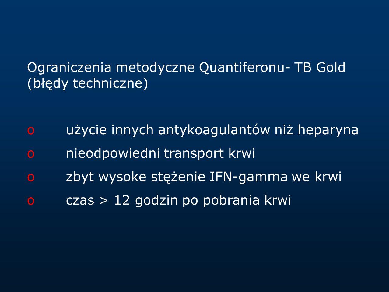 Ograniczenia metodyczne Quantiferonu- TB Gold (błędy techniczne) oużycie innych antykoagulantów niż heparyna onieodpowiedni transport krwi ozbyt wysok