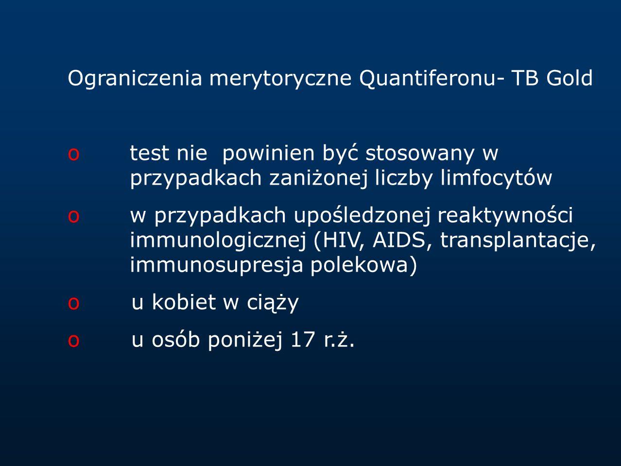 Ograniczenia merytoryczne Quantiferonu- TB Gold otest nie powinien być stosowany w przypadkach zaniżonej liczby limfocytów ow przypadkach upośledzonej