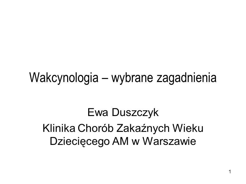 1 Wakcynologia – wybrane zagadnienia Ewa Duszczyk Klinika Chorób Zakaźnych Wieku Dziecięcego AM w Warszawie