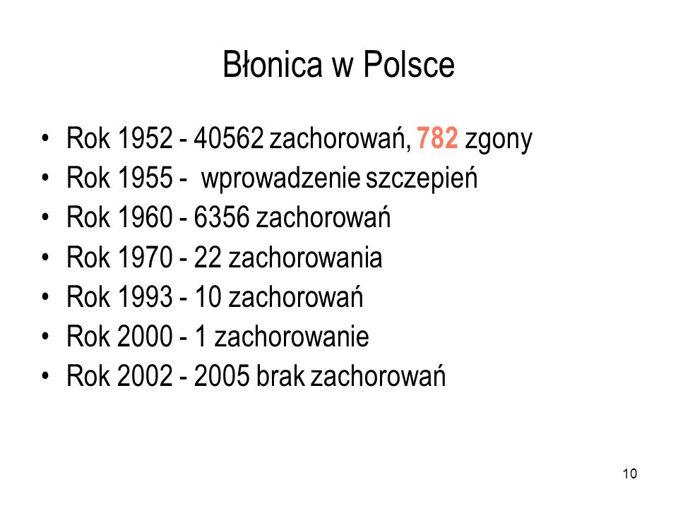 10 Błonica w Polsce Rok 1952 - 40562 zachorowań, 782 zgony Rok 1955 - wprowadzenie szczepień Rok 1960 - 6356 zachorowań Rok 1970 - 22 zachorowania Rok
