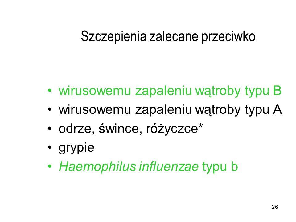 26 Szczepienia zalecane przeciwko wirusowemu zapaleniu wątroby typu B wirusowemu zapaleniu wątroby typu A odrze, śwince, różyczce* grypie Haemophilus influenzae typu b
