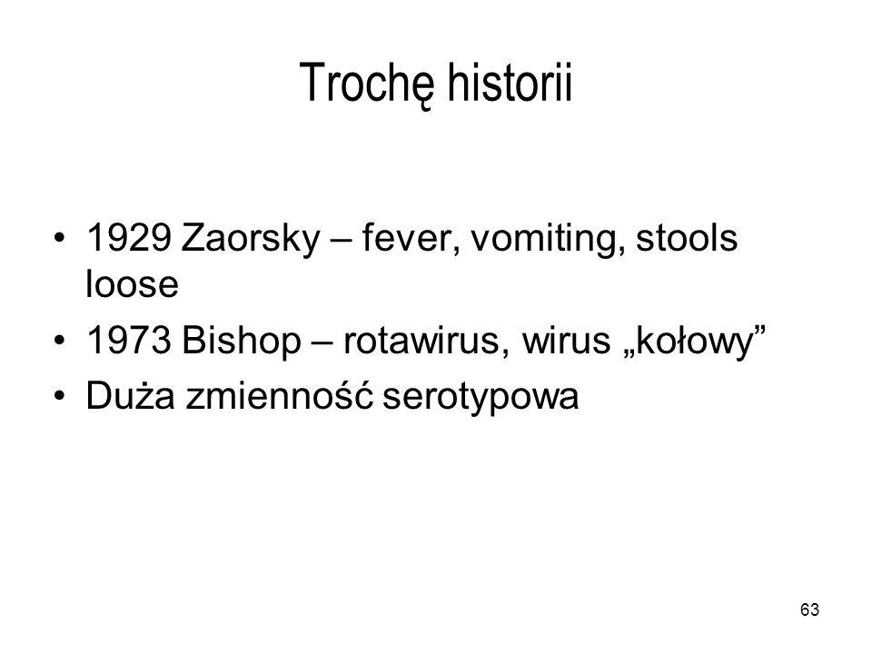 """63 Trochę historii 1929 Zaorsky – fever, vomiting, stools loose 1973 Bishop – rotawirus, wirus """"kołowy Duża zmienność serotypowa"""