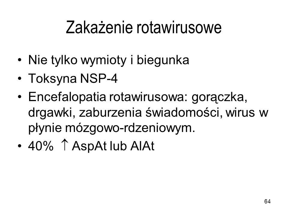 64 Zakażenie rotawirusowe Nie tylko wymioty i biegunka Toksyna NSP-4 Encefalopatia rotawirusowa: gorączka, drgawki, zaburzenia świadomości, wirus w płynie mózgowo-rdzeniowym.