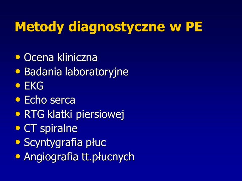 Metody diagnostyczne w PE Ocena kliniczna Ocena kliniczna Badania laboratoryjne Badania laboratoryjne EKG EKG Echo serca Echo serca RTG klatki piersiowej RTG klatki piersiowej CT spiralne CT spiralne Scyntygrafia płuc Scyntygrafia płuc Angiografia tt.płucnych Angiografia tt.płucnych