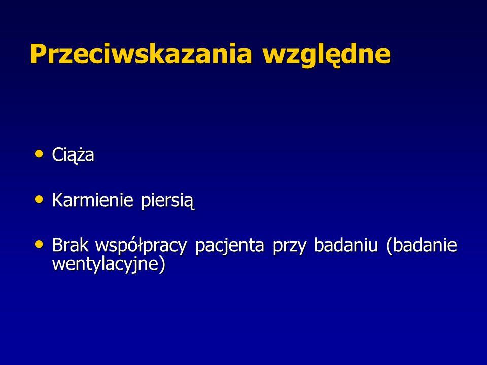 Przeciwskazania względne Ciąża Ciąża Karmienie piersią Karmienie piersią Brak współpracy pacjenta przy badaniu (badanie wentylacyjne) Brak współpracy pacjenta przy badaniu (badanie wentylacyjne)
