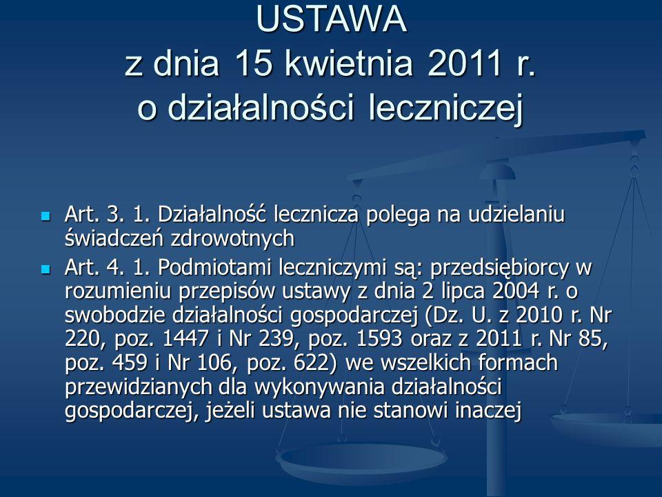 USTAWA z dnia 15 kwietnia 2011 r. o działalności leczniczej Art. 3. 1. Działalność lecznicza polega na udzielaniu świadczeń zdrowotnych Art. 3. 1. Dzi