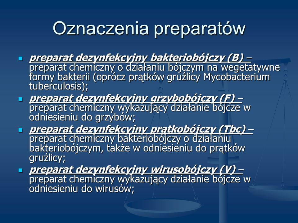 Oznaczenia preparatów preparat dezynfekcyjny bakteriobójczy (B) – preparat chemiczny o działaniu bójczym na wegetatywne formy bakterii (oprócz prątków