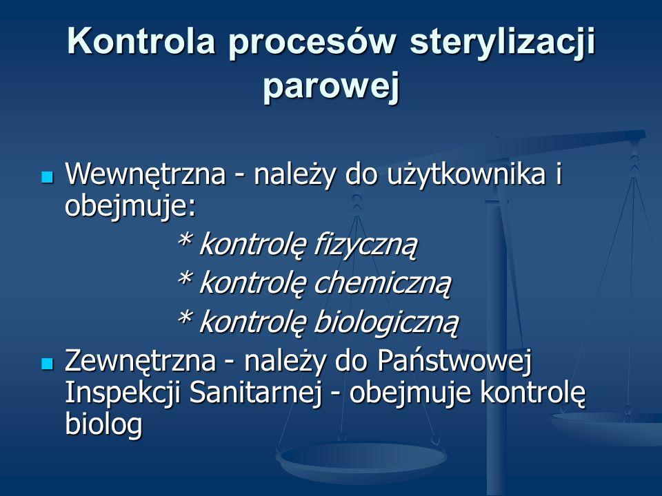 Kontrola procesów sterylizacji parowej Wewnętrzna - należy do użytkownika i obejmuje: Wewnętrzna - należy do użytkownika i obejmuje: * kontrolę fizycz