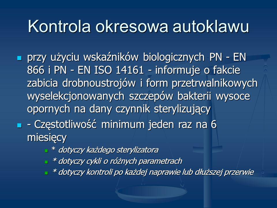 Kontrola okresowa autoklawu przy użyciu wskaźników biologicznych PN - EN 866 i PN - EN ISO 14161 - informuje o fakcie zabicia drobnoustrojów i form pr