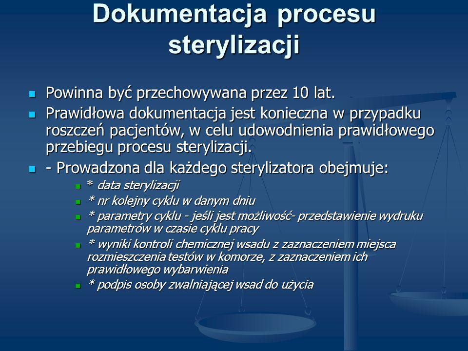 Dokumentacja procesu sterylizacji Powinna być przechowywana przez 10 lat. Powinna być przechowywana przez 10 lat. Prawidłowa dokumentacja jest koniecz