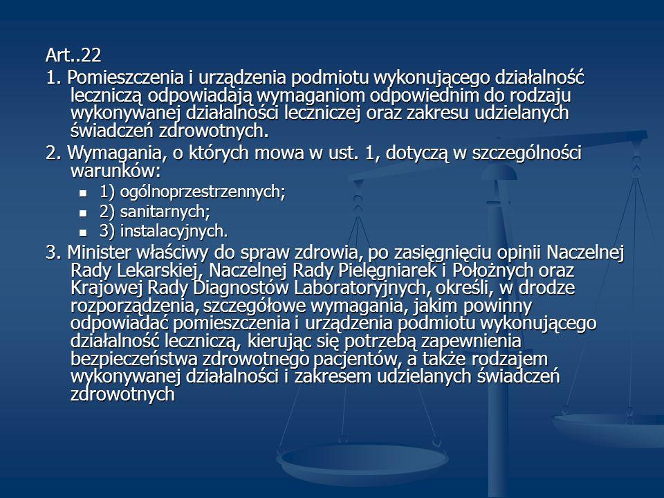Art..22 1. Pomieszczenia i urządzenia podmiotu wykonującego działalność leczniczą odpowiadają wymaganiom odpowiednim do rodzaju wykonywanej działalnoś