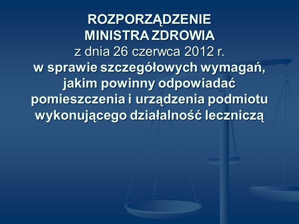 ROZPORZĄDZENIE MINISTRA ZDROWIA z dnia 26 czerwca 2012 r. w sprawie szczegółowych wymagań, jakim powinny odpowiadać pomieszczenia i urządzenia podmiot
