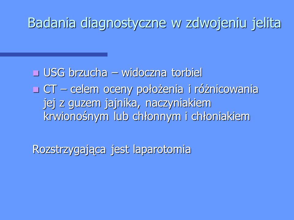 Badania diagnostyczne w zdwojeniu jelita USG brzucha – widoczna torbiel USG brzucha – widoczna torbiel CT – celem oceny położenia i różnicowania jej z