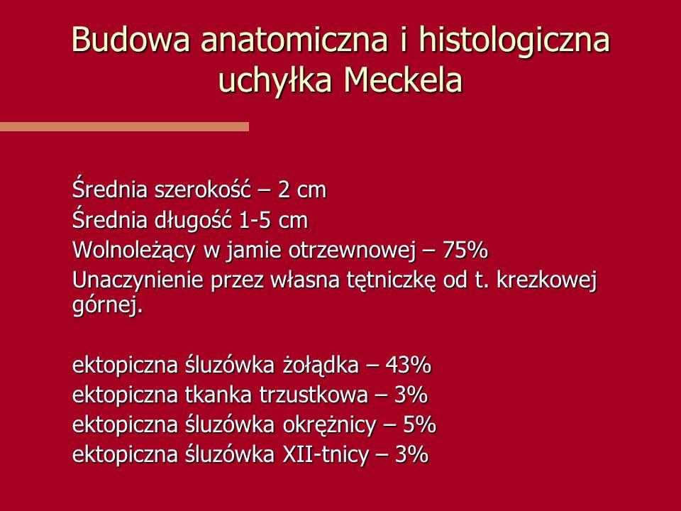 Budowa anatomiczna i histologiczna uchyłka Meckela Średnia szerokość – 2 cm Średnia długość 1-5 cm Wolnoleżący w jamie otrzewnowej – 75% Unaczynienie