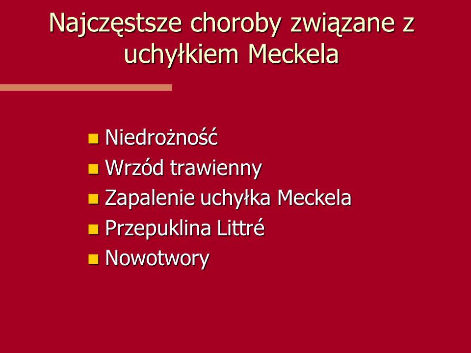 Najczęstsze choroby związane z uchyłkiem Meckela Niedrożność Niedrożność Wrzód trawienny Wrzód trawienny Zapalenie uchyłka Meckela Zapalenie uchyłka M
