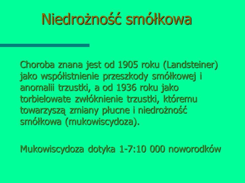 Niedrożność smółkowa Choroba znana jest od 1905 roku (Landsteiner) jako współistnienie przeszkody smółkowej i anomalii trzustki, a od 1936 roku jako t