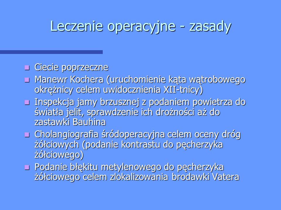 Leczenie operacyjne - zasady Ciecie poprzeczne Ciecie poprzeczne Manewr Kochera (uruchomienie kąta wątrobowego okrężnicy celem uwidocznienia XII-tnicy