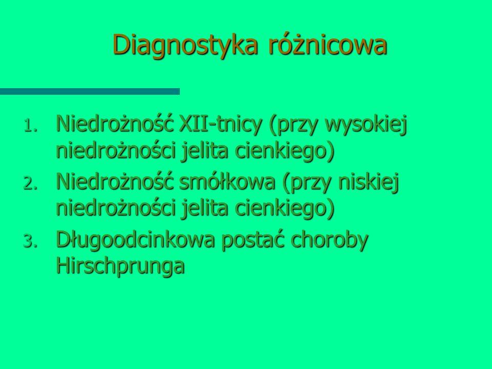Diagnostyka różnicowa 1. Niedrożność XII-tnicy (przy wysokiej niedrożności jelita cienkiego) 2. Niedrożność smółkowa (przy niskiej niedrożności jelita