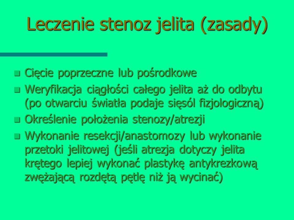 Leczenie stenoz jelita (zasady) Cięcie poprzeczne lub pośrodkowe Cięcie poprzeczne lub pośrodkowe Weryfikacja ciągłości całego jelita aż do odbytu (po