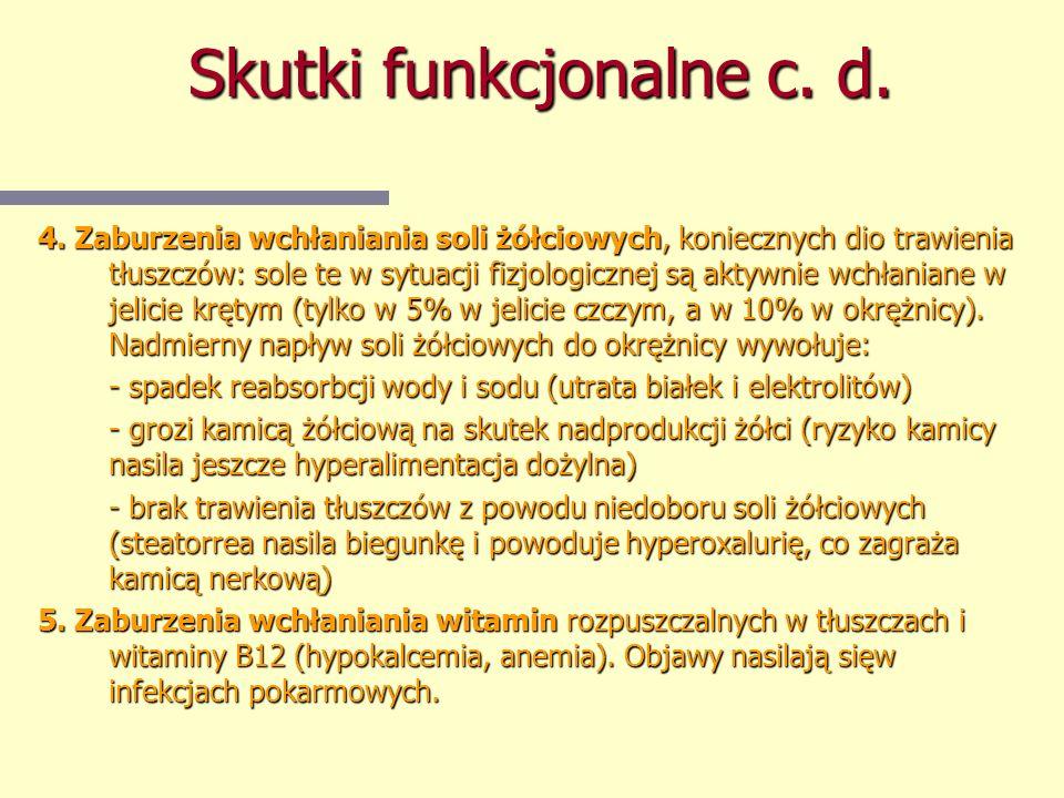 Skutki funkcjonalne c. d. 4. Zaburzenia wchłaniania soli żółciowych, koniecznych dio trawienia tłuszczów: sole te w sytuacji fizjologicznej są aktywni