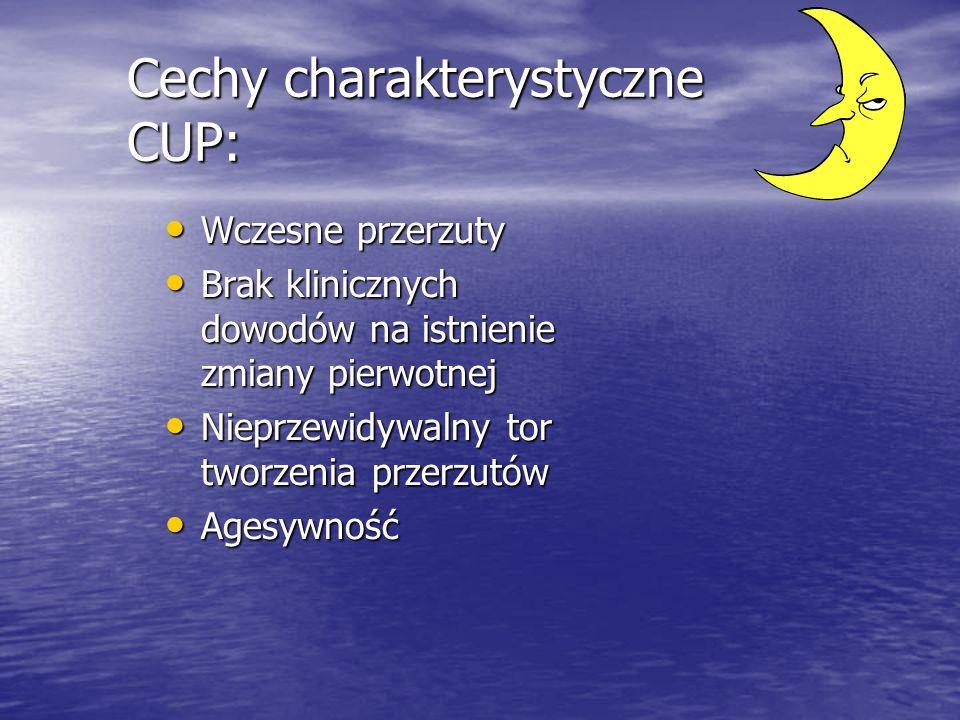 Cechy charakterystyczne CUP: Wczesne przerzuty Wczesne przerzuty Brak klinicznych dowodów na istnienie zmiany pierwotnej Brak klinicznych dowodów na i