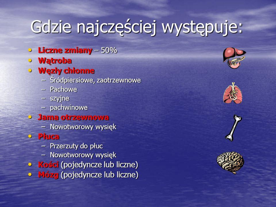 Główne typy histologiczne: Histologia Występowanie (%) Gruczolakorak Dobrze do umiarkowanie zróżnicowanego Słabo lub niezróżnicowany (anaplastyczny) Rak kolczystokomórkowy: Niezróżnicowane nowotwory: Bliżej niesprecyzowane Guzy neuroendokrynne Chłoniaki Guzy zarodkowe CzerniakiMięsaki5030155