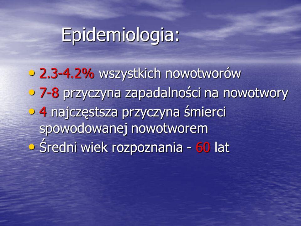 Epidemiologia: 2.3-4.2% wszystkich nowotworów 2.3-4.2% wszystkich nowotworów 7-8 przyczyna zapadalności na nowotwory 7-8 przyczyna zapadalności na now