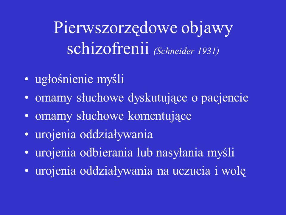 Pierwszorzędowe objawy schizofrenii (Schneider 1931) ugłośnienie myśli omamy słuchowe dyskutujące o pacjencie omamy słuchowe komentujące urojenia oddziaływania urojenia odbierania lub nasyłania myśli urojenia oddziaływania na uczucia i wolę