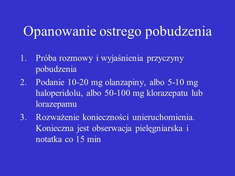 Opanowanie ostrego pobudzenia 1.Próba rozmowy i wyjaśnienia przyczyny pobudzenia 2.Podanie 10-20 mg olanzapiny, albo 5-10 mg haloperidolu, albo 50-100 mg klorazepatu lub lorazepamu 3.Rozważenie konieczności unieruchomienia.