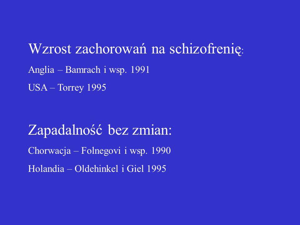 Wzrost zachorowań na schizofrenię : Anglia – Bamrach i wsp.
