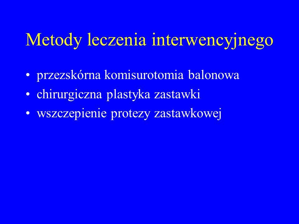 Metody leczenia interwencyjnego przezskórna komisurotomia balonowa chirurgiczna plastyka zastawki wszczepienie protezy zastawkowej