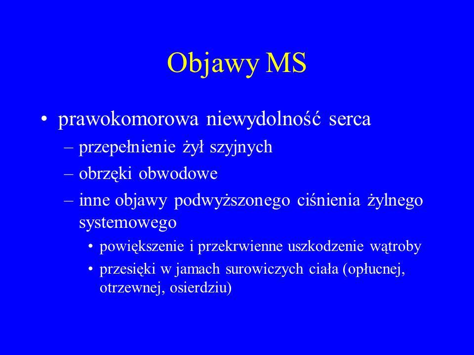 Objawy MS nadkomorowe zaburzenia rytmu - głównie migotanie przedsionków –występuje u ok.