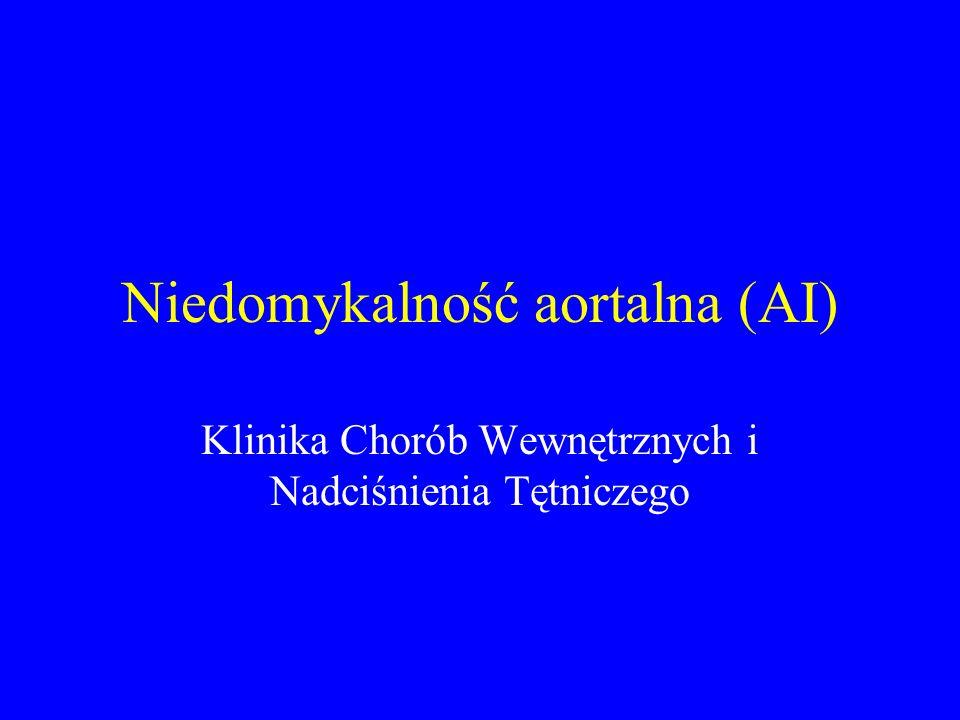 Etiologia zwyrodnienie płatków zastawki poszerzenie pierścienia aortalnego lub/i aorty wstępującej mieszany