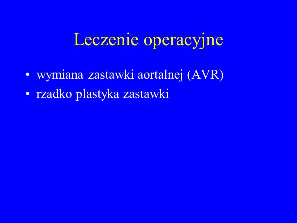 Leczenie operacyjne wymiana zastawki aortalnej (AVR) rzadko plastyka zastawki