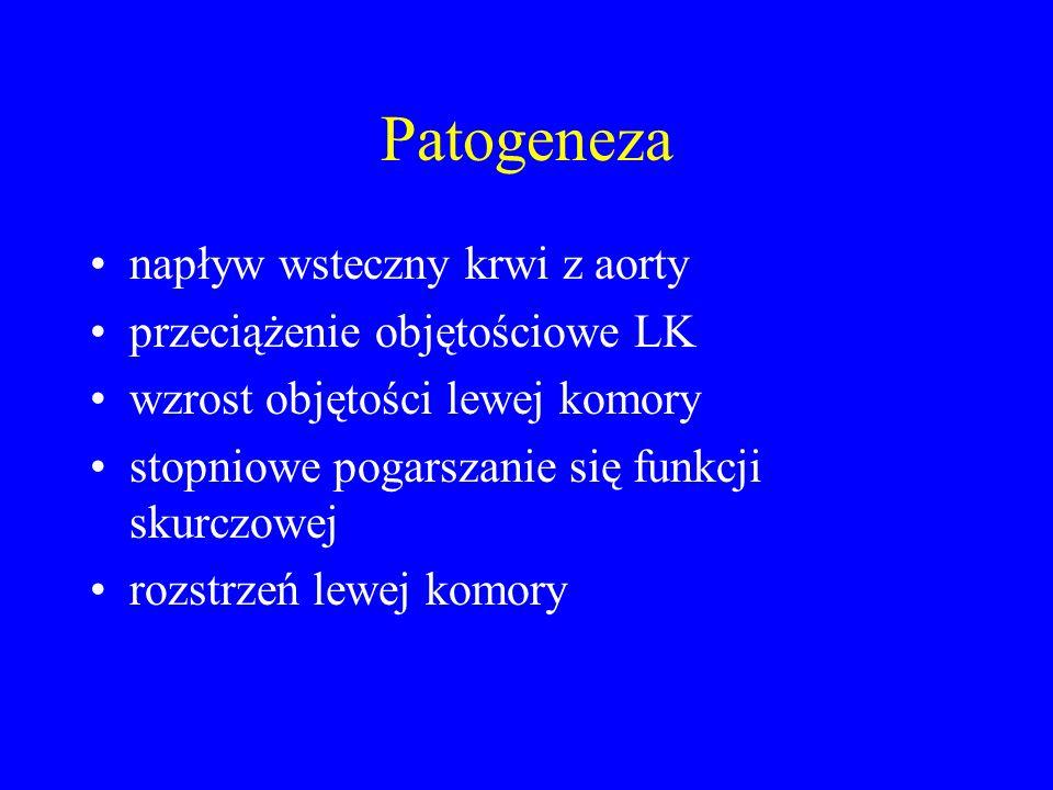 Patogeneza napływ wsteczny krwi z aorty przeciążenie objętościowe LK wzrost objętości lewej komory stopniowe pogarszanie się funkcji skurczowej rozstr