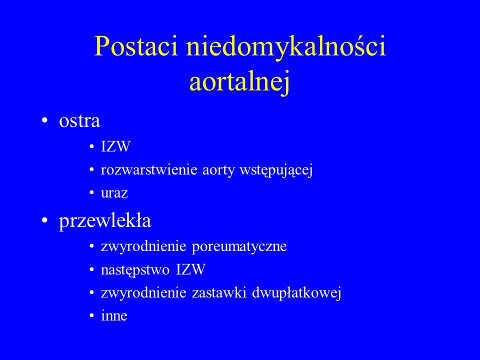 Postaci niedomykalności aortalnej ostra IZW rozwarstwienie aorty wstępującej uraz przewlekła zwyrodnienie poreumatyczne następstwo IZW zwyrodnienie za