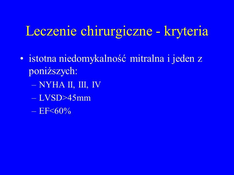 Leczenie chirurgiczne - kryteria istotna niedomykalność mitralna i jeden z poniższych: –NYHA II, III, IV –LVSD>45mm –EF<60%