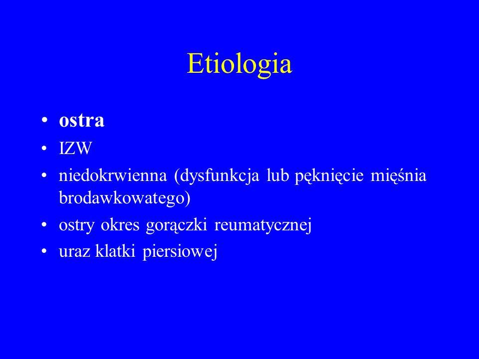Etiologia ostra IZW niedokrwienna (dysfunkcja lub pęknięcie mięśnia brodawkowatego) ostry okres gorączki reumatycznej uraz klatki piersiowej